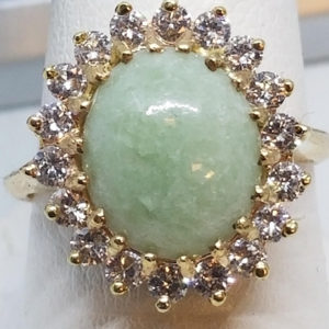 14k gold jade 1.00 carats diamonds