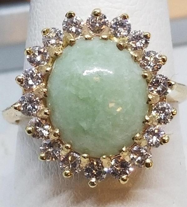 14k gold jade 1.00 carats diamonds
